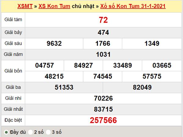 Thống kê xổ số Kom Tum 7/2/2021